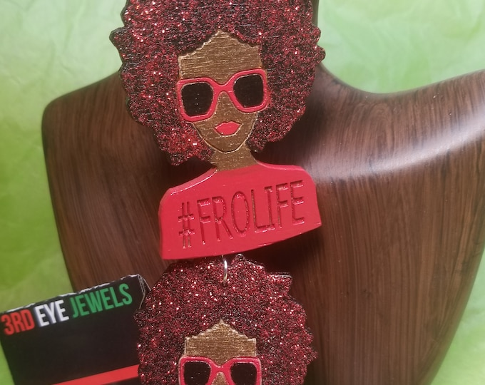 FRO Life Earrings:  Hand painted Red and Black