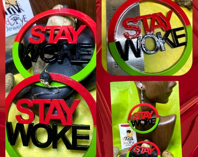 Hand Painted RBG Stay Woke Earrings