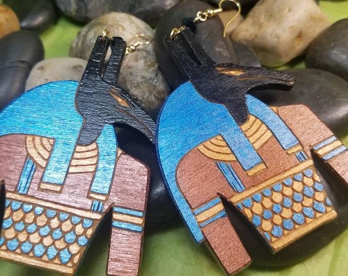Hand Painted Anubis (Anpu) Dangle Earrings