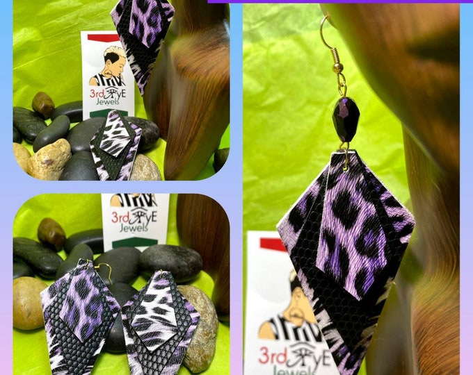 Faux Leathet Exotic Animal Print Coffin Earrings