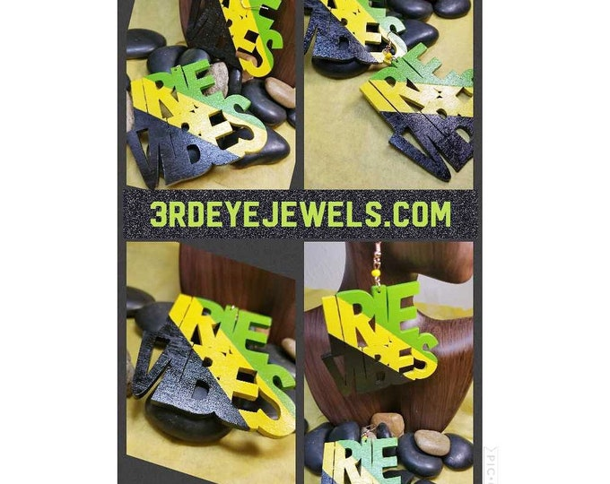Hand Painted Black, Yellow and Green:  IRIE VIBES