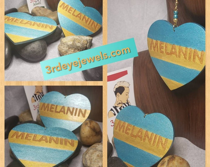 Hand painted Melanin Heart Earrings:  Aquamarine and Gold