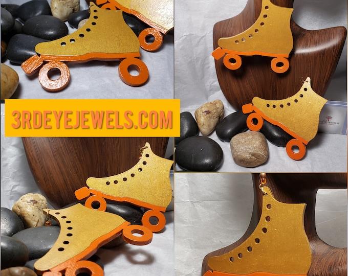 Hand Painted Roller Skate Earrings:  Quad Skates