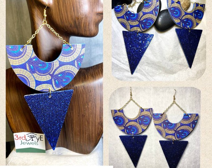 Exotic African Print Faux Leather Earrings