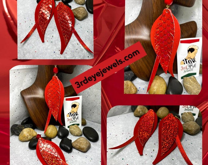 Handmade Faux/Vegan Leather Red Exotic Bird Feather Dangle Earrings
