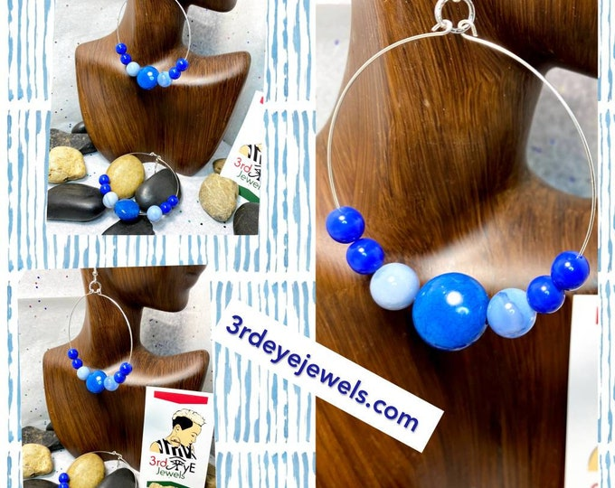 Handmade Wire Hoop Earrings with Agate Stones and Blue Accent Beads