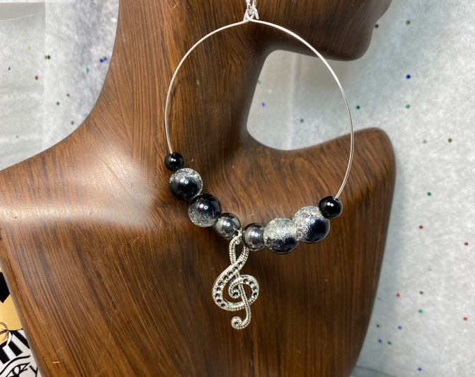 Handmade Wire Music Note Hoop Earrings with Glass Beads
