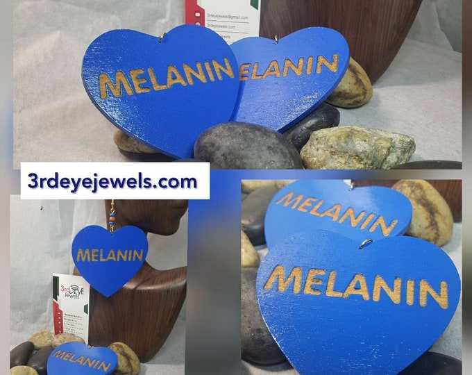 Hand painted Blue Heart Melanin Earrings
