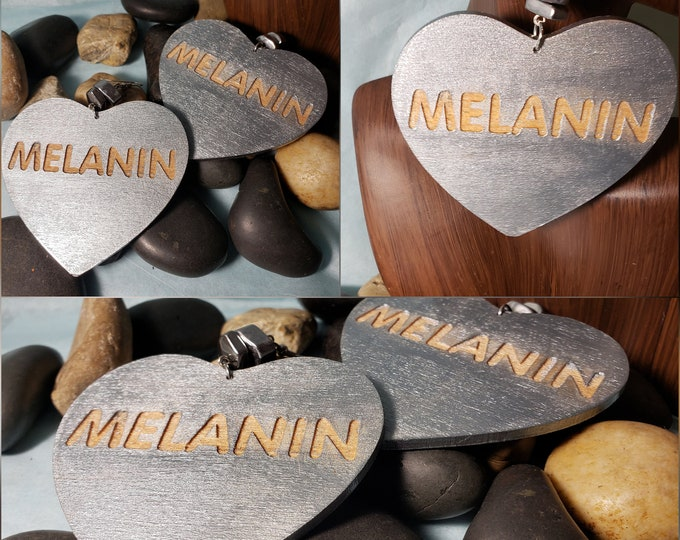 Hand painted Heart Melanin Earrings
