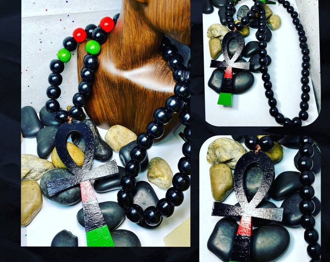 Hand Painted RBG Wood Bead Necklace