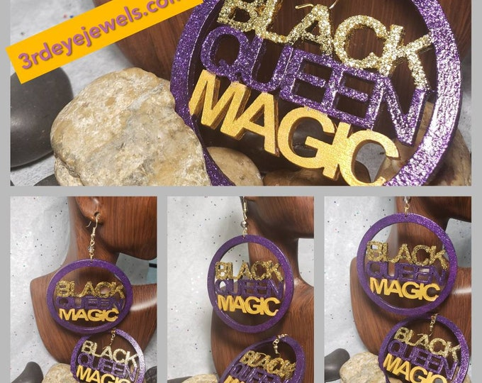 Hand Painted Earrings:  Black Queen Magic in Purple and Gold Bling