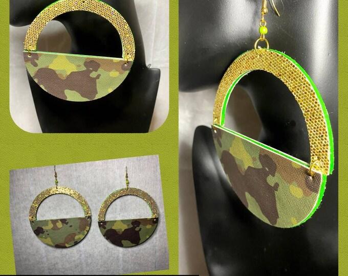 Big Bold Camouflage Vegan Leather Exotic Dangle Earrings