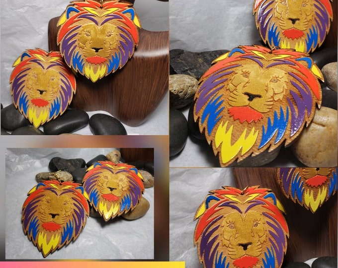 Lion Head Multiple Colored Dangle, Hand painted Earrings