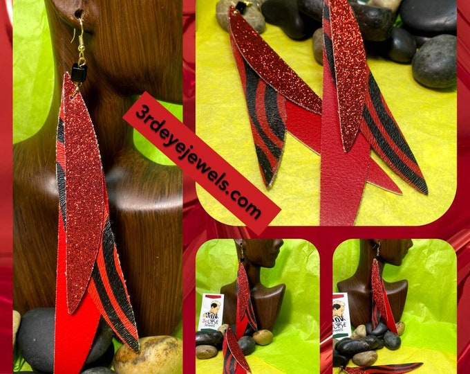 Red Hot Faux Leather Dangle Earrings:  Exotic Red Zebra Print and Bling.