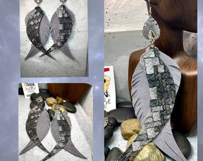 Handmade Gray Multi-Colored Vegan/Faux Leather Exotic Earrings