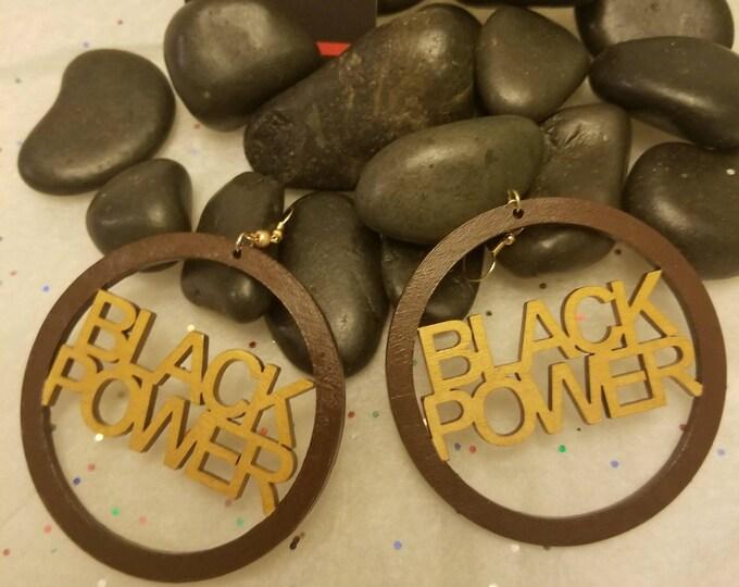 Black Power Hoop Earrings