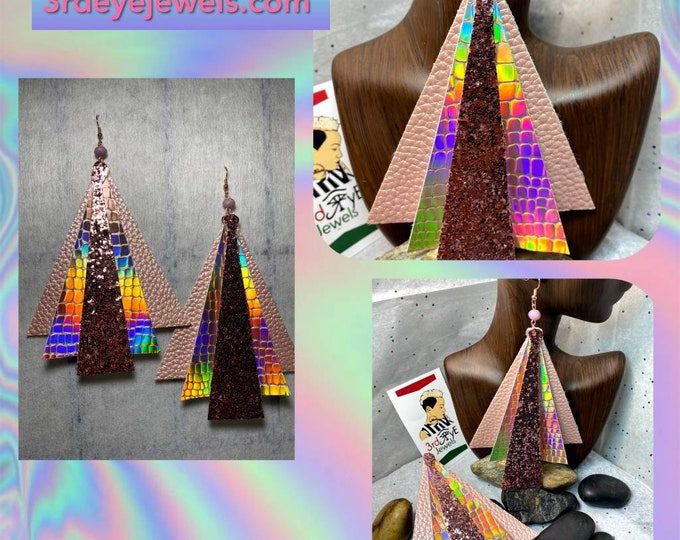 Triangle Extoic Vegan Leather/Faux Leather Big Dangle Earrings