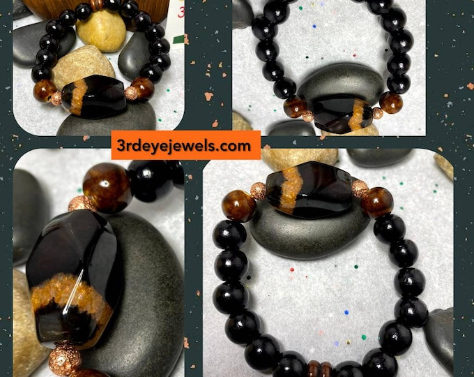 Handmade Men's Stretch Bracelet with Jasper, Lava, Glass and Wood Beads