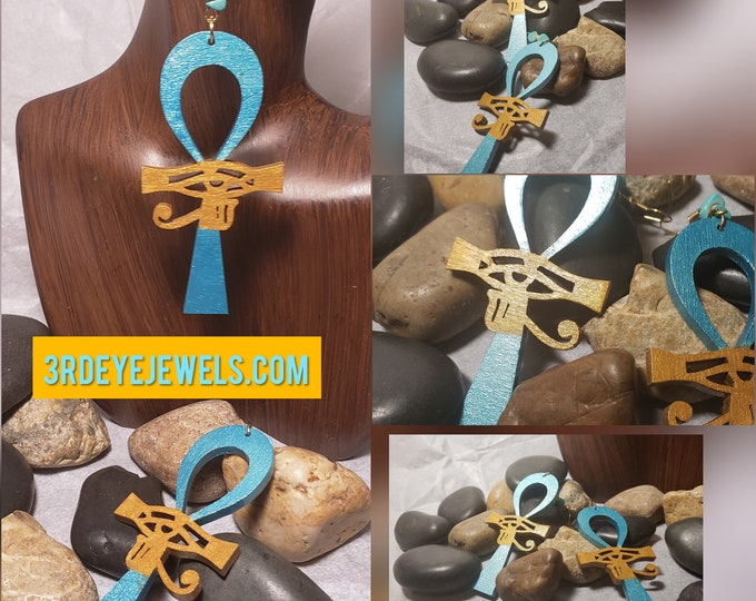 Hand painted Turquoise and Gold Ankh Earrings with Eye of Ra