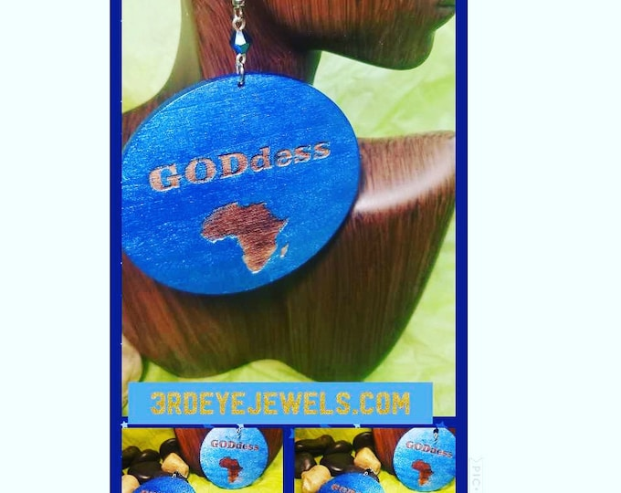 Blue Goddess Earrings with Africa, Hand Painted Rare Earrings