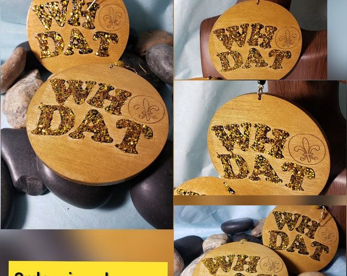 Hand Painted Who Dat Earrings