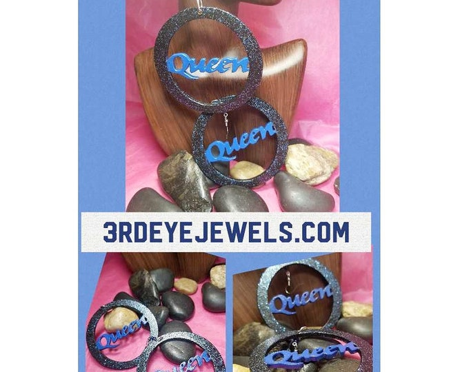Hand painted Cobalt Blue and Black Queen Hoop Earrings