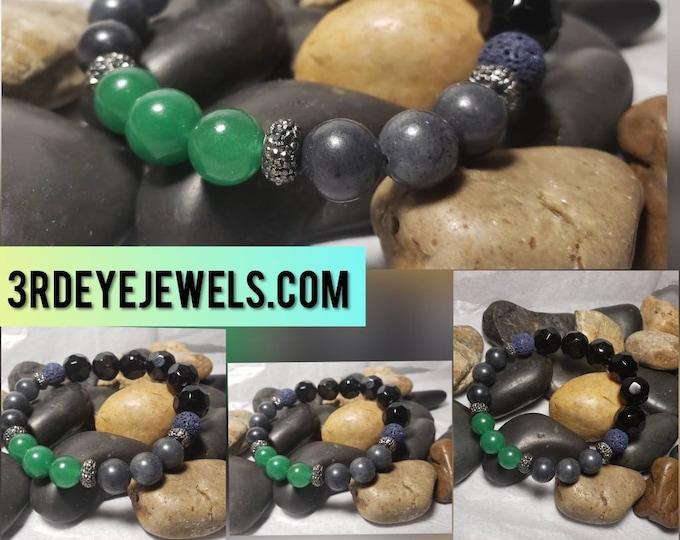 Men's Stretch Bracelet:  Semi Precious Beads, Aventurine, Jade, Glass Beads and Lava Stones