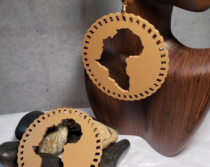 Hand painted Caramel Africa Dangle Earrings