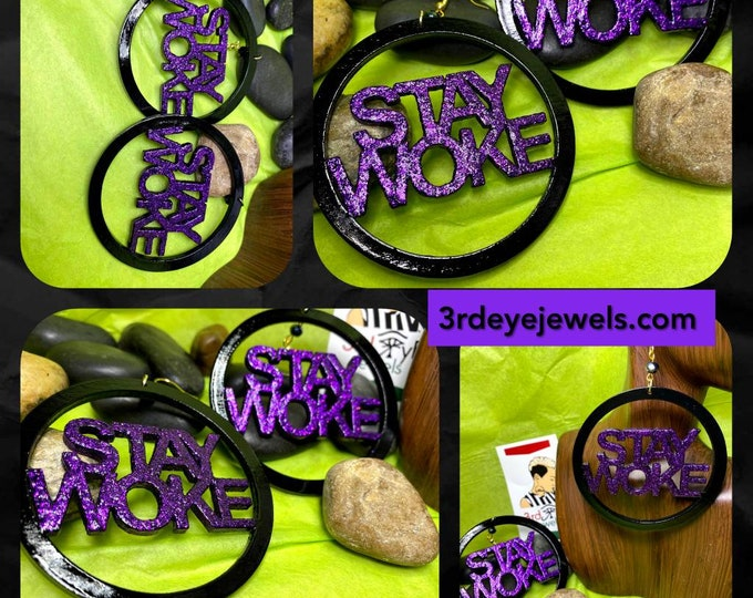 Hand Painted Black & Purple Stay Woke Hoop Earrings