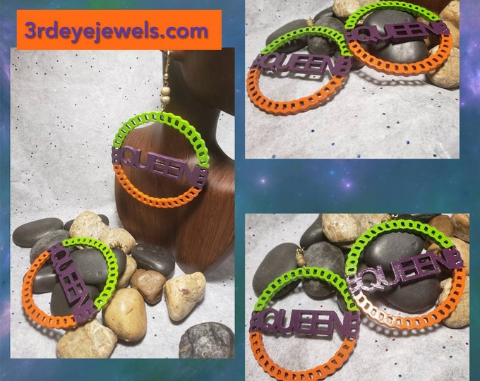 Hand painted, orange, green and eggplant purple.  Queen Hoop Earrings