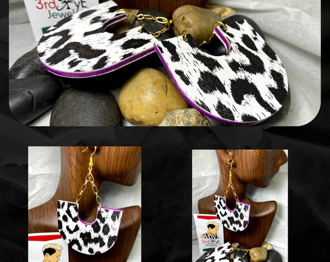 Exotic Faux Leather Chain Dangle Earrings