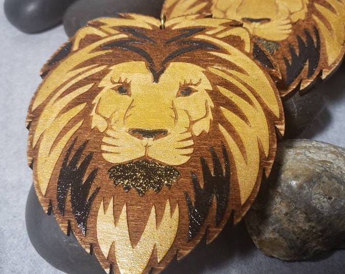 Hand Painted Lion Head Earrings:  Black and Gold