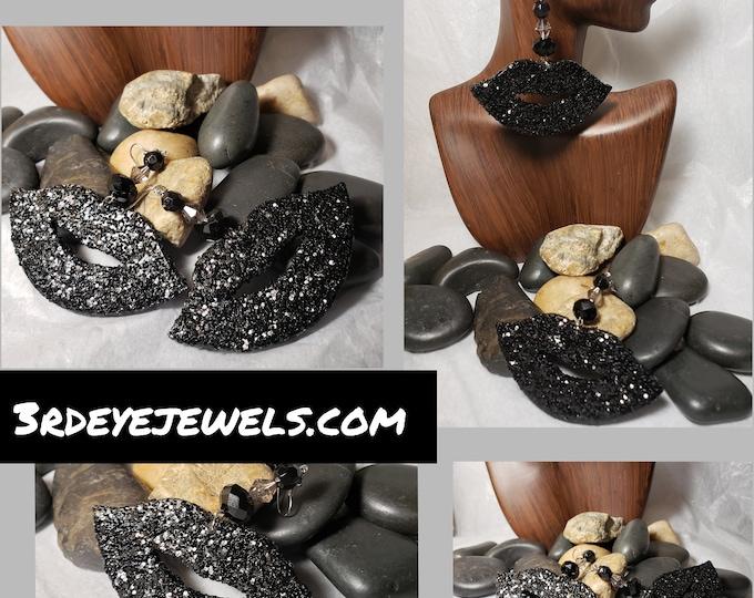 Hand Painted in Tuxedo Black:  Lip Dangle Earrings