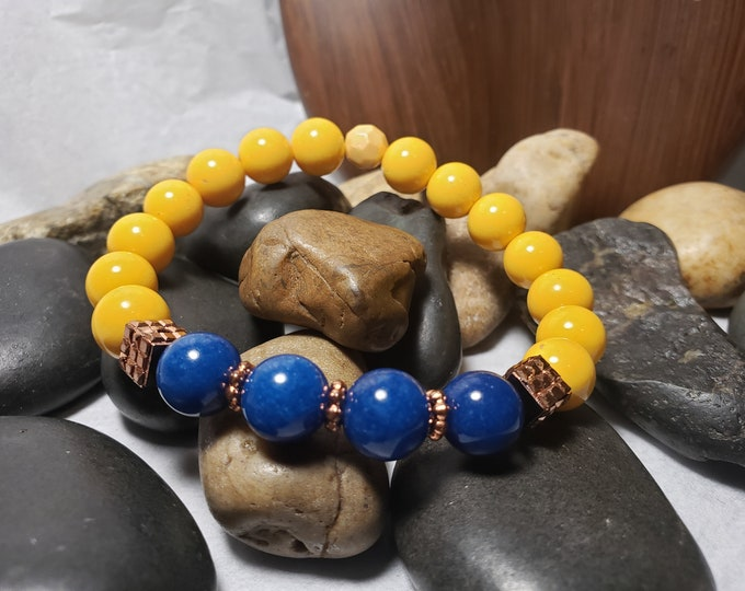 Men's Yellow Glass Beads, Blue Jade and Blue Lava Stones