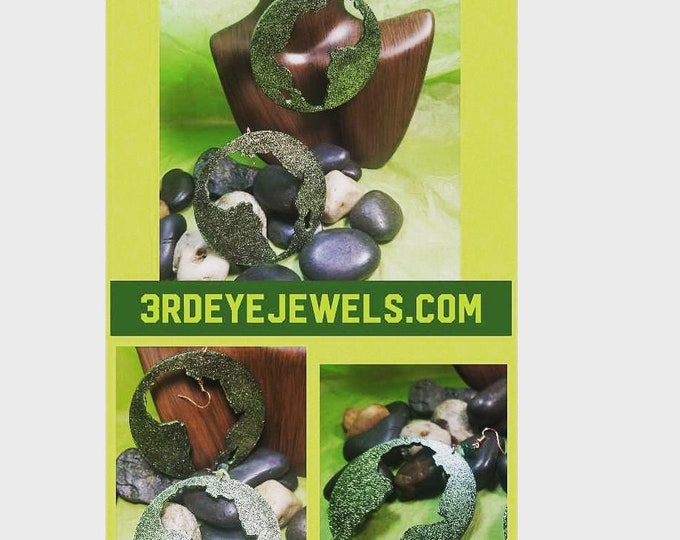 Hand Painted Africa Earrings:  Green Bling