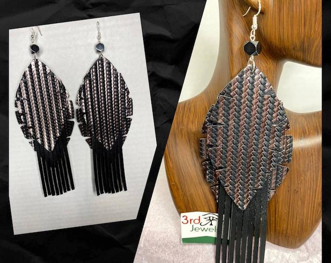 Vegan Leather:  Exotic, Dangle Tassel Earrings