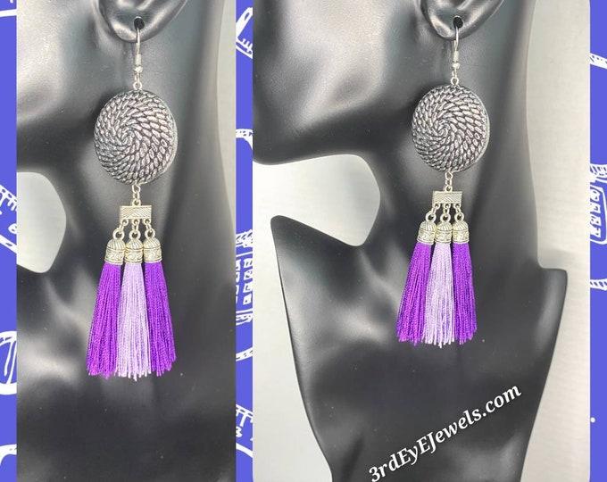 Purple & Lavender Tassel Dangle Earrings