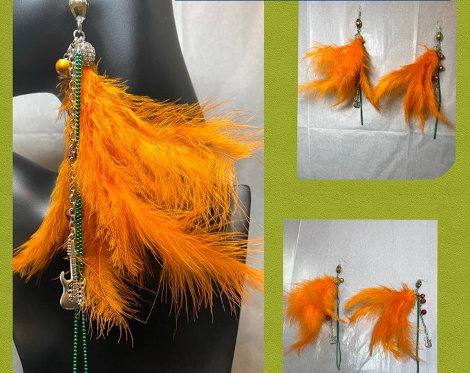 ROCKSTAR Feather Dangle, Guitar Charm Earrings