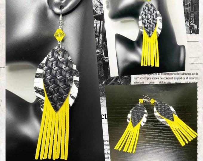 Exotic Animal Print Tassel Earrings