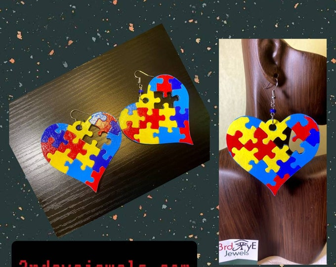 A Piece Missing:  Autism Hand painted Heart Earrings