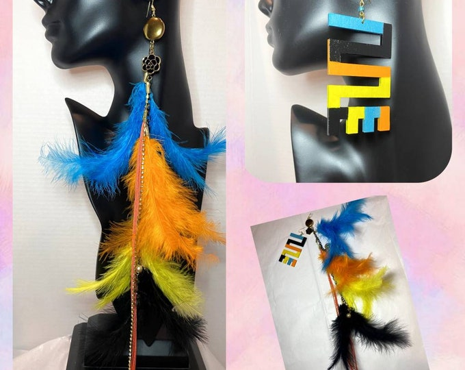 The Mixed Up Pair:  Hand Painted African Adinkra Symbol paired with Handmade Chain Feather Earrings