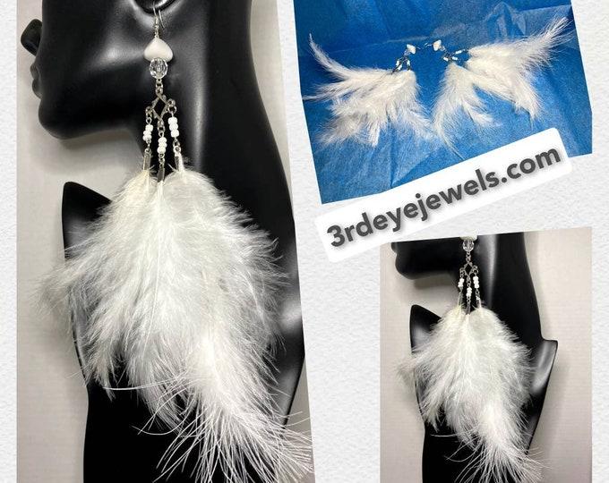 White Feather Dangle Earrings