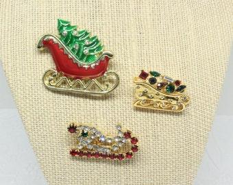 vintage lot of three rhinestone sleigh brooches christmas pins gold tone - Christmas Pins