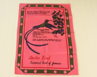 Vintage Jamaica Doctor Bird Tea Towel Pink Cotton Printed Kitchen Towel with Cocktail Recipe