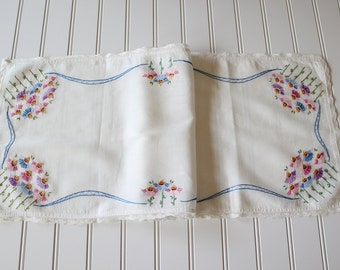 Vintage Hand Embroidered Floral Cotton Table Runner Dresser Scarf with Lace Trim