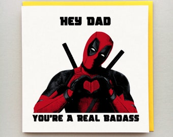 cfcd9c64 Deadpool Father's Day Card - Personalised Card - Dad, Daddy, Step Dad etc -  Deadpool - Father's Day Card - Avengers - Marvel