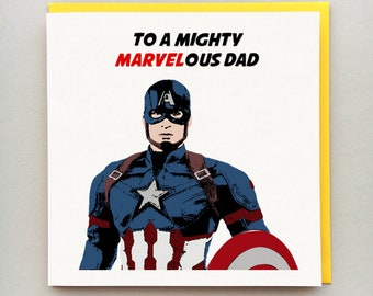 bdffe98af Captain America Father's Day Card - Personalised Card - Dad, Daddy, Step Dad  etc - Captain America - Father's Day Card - Avengers - Marvel