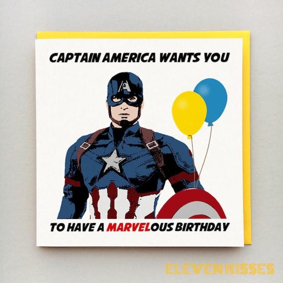 Captain America Card Birthday Card Captain America Etsy