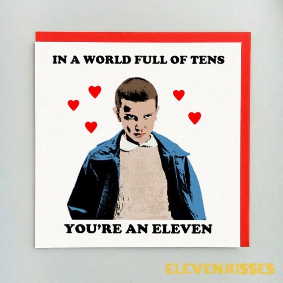 Stranger Things Card Eleven Love Card Birthday Card Etsy