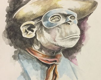 Monkey cowboy signed original watercolor painting by Charles State